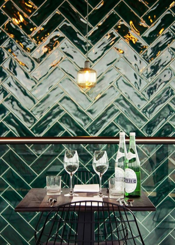 A bold choice - herringbone style in glossy green.