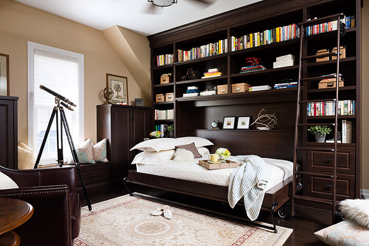 A lovely bookshelf that is also a Murphy bed