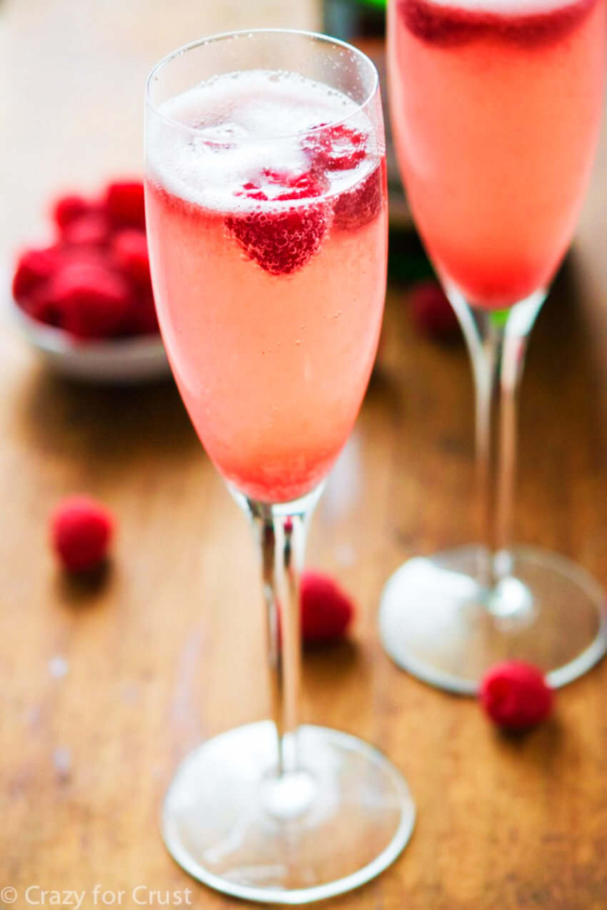 Raspeberry punch made with champagne, can't go wrong!