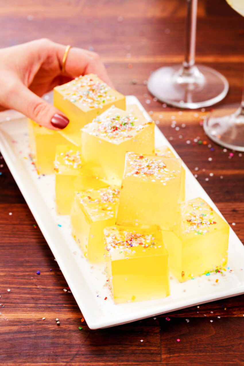 Fancy Jell-O shots with champagne because the occasion calls for it!