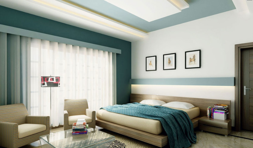 Innovate your bedroom with a color scheme and paint the ceiling.