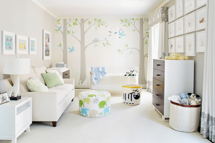 Woodland creatures are adorable to decorate a nursery.