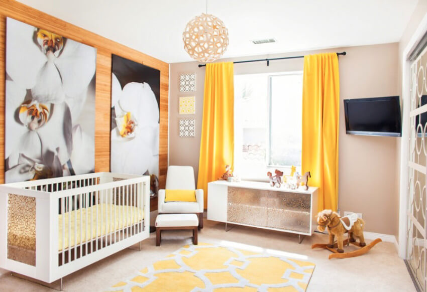 Yellow is a great color for a neutral nursery.