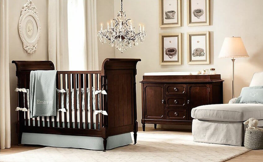Dark wooden crib to keep your baby safe