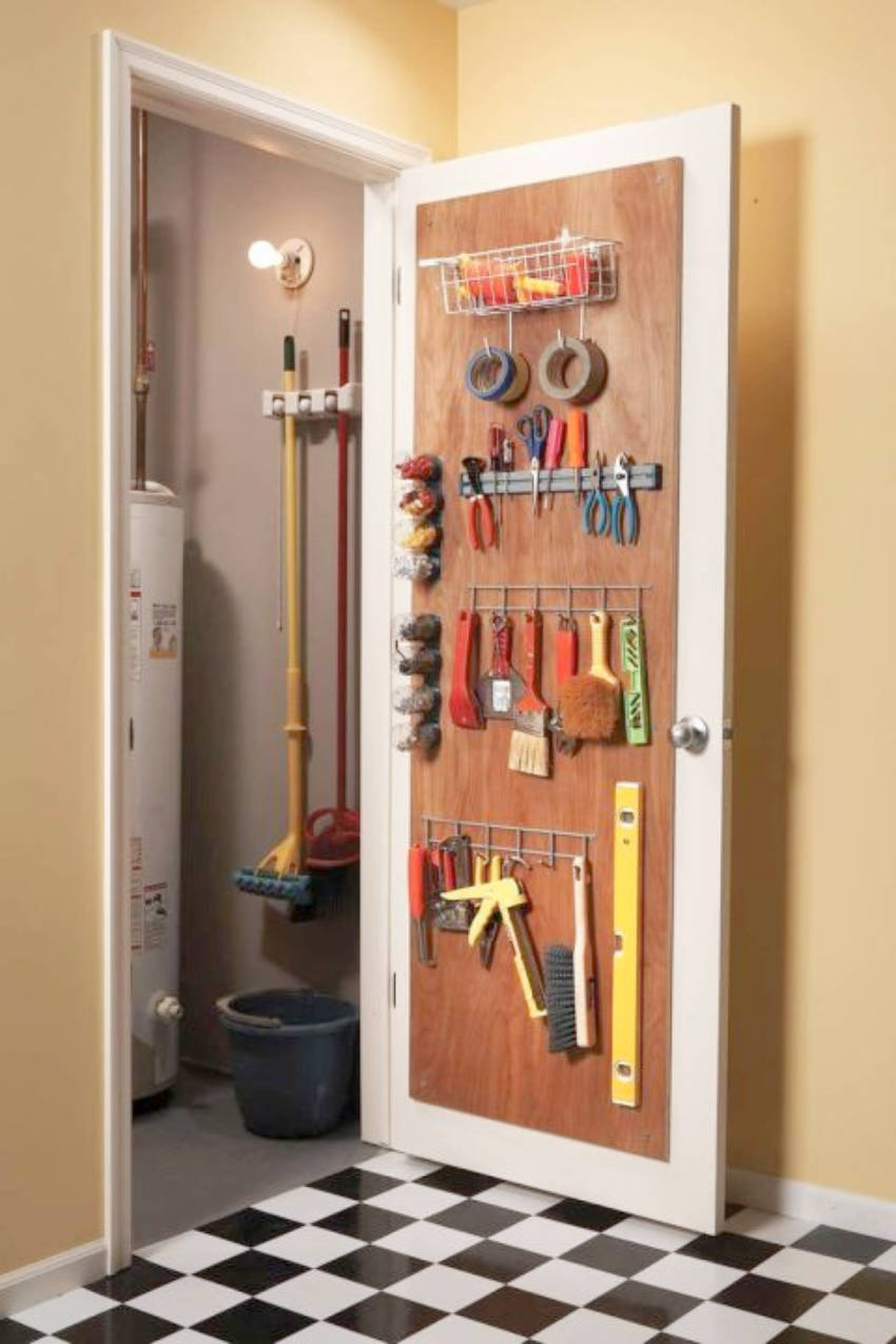 You can use the back door space to create a space for tools!