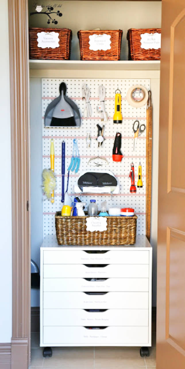 Peg boards are a great way to save space and stay organized!