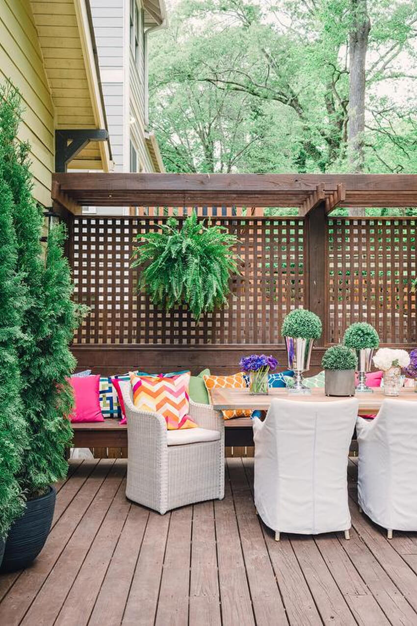 A lattice wall is perfect to match wood decks!