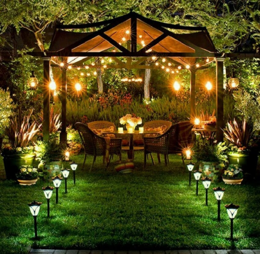 This well lit patio will be a delightful way to enjoy summer nights.