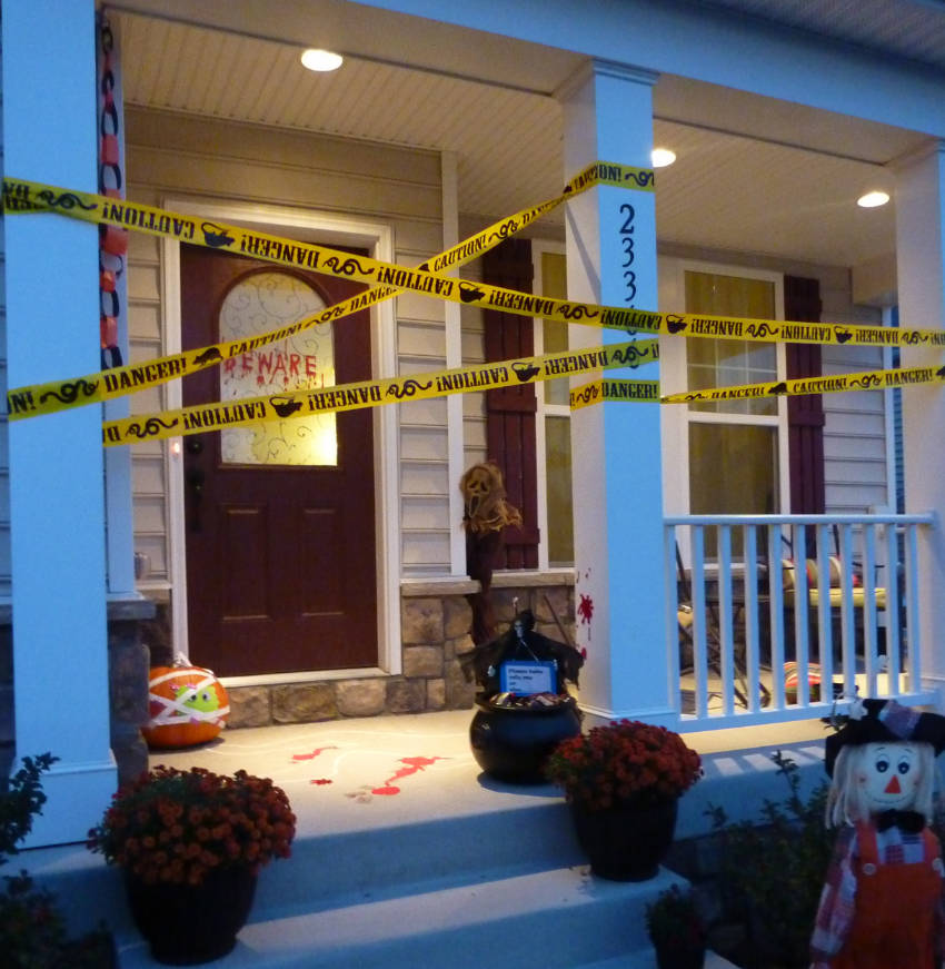 Your front porch becomes a fake crime scene for this Halloween decoration idea!