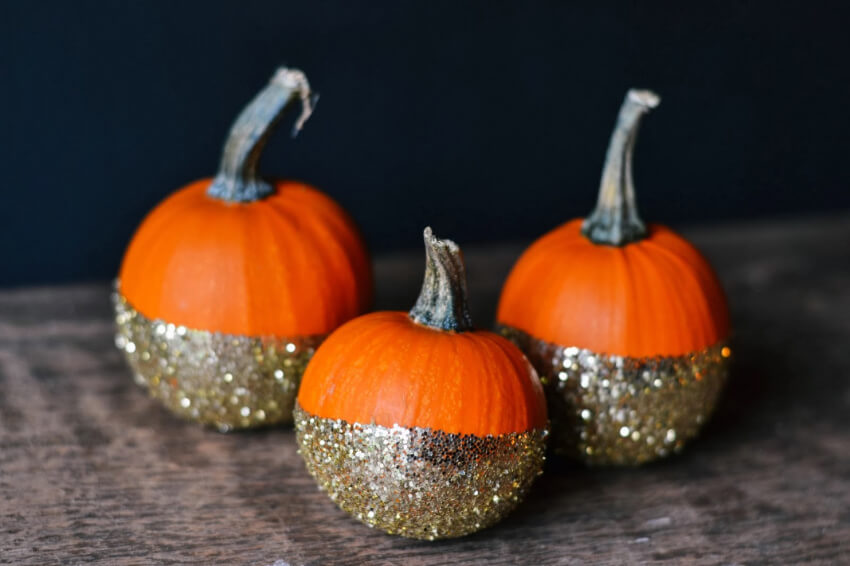 These glitter pumpkins are perfect for a mantel decor!