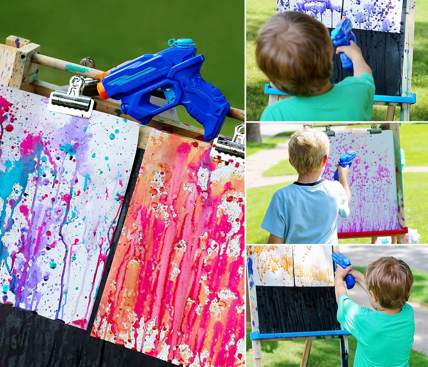 Squirting the art onto a canvas
