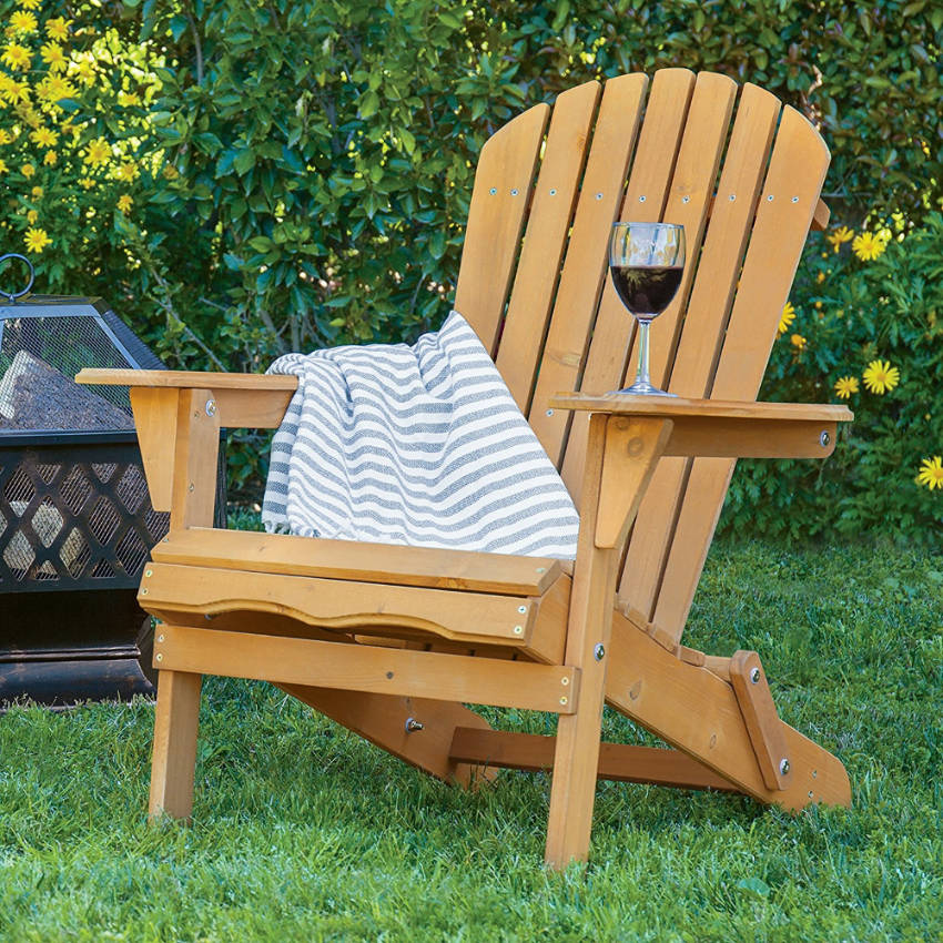 A wooden chair is the perfect addition to your pergola!