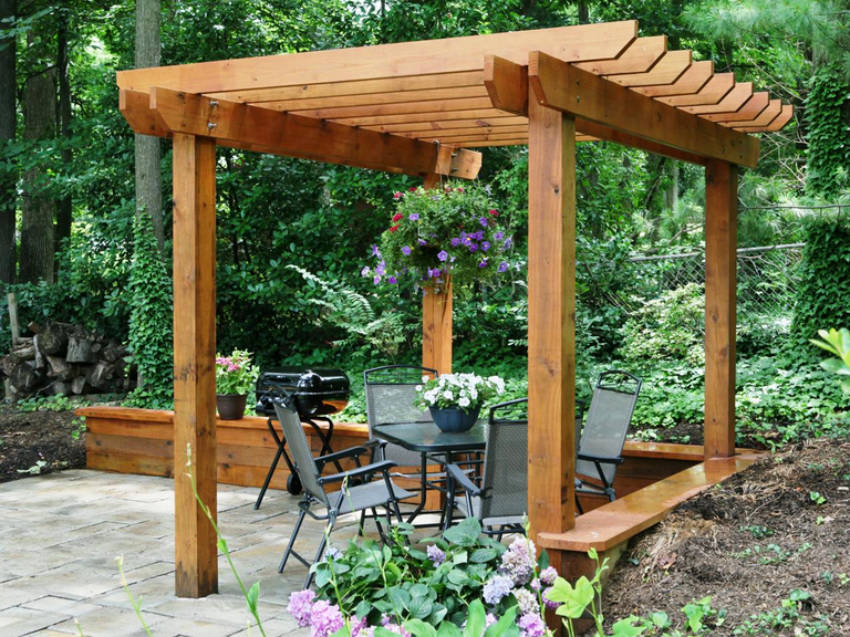 A pergola over your patio is the perfect budget friendly project!