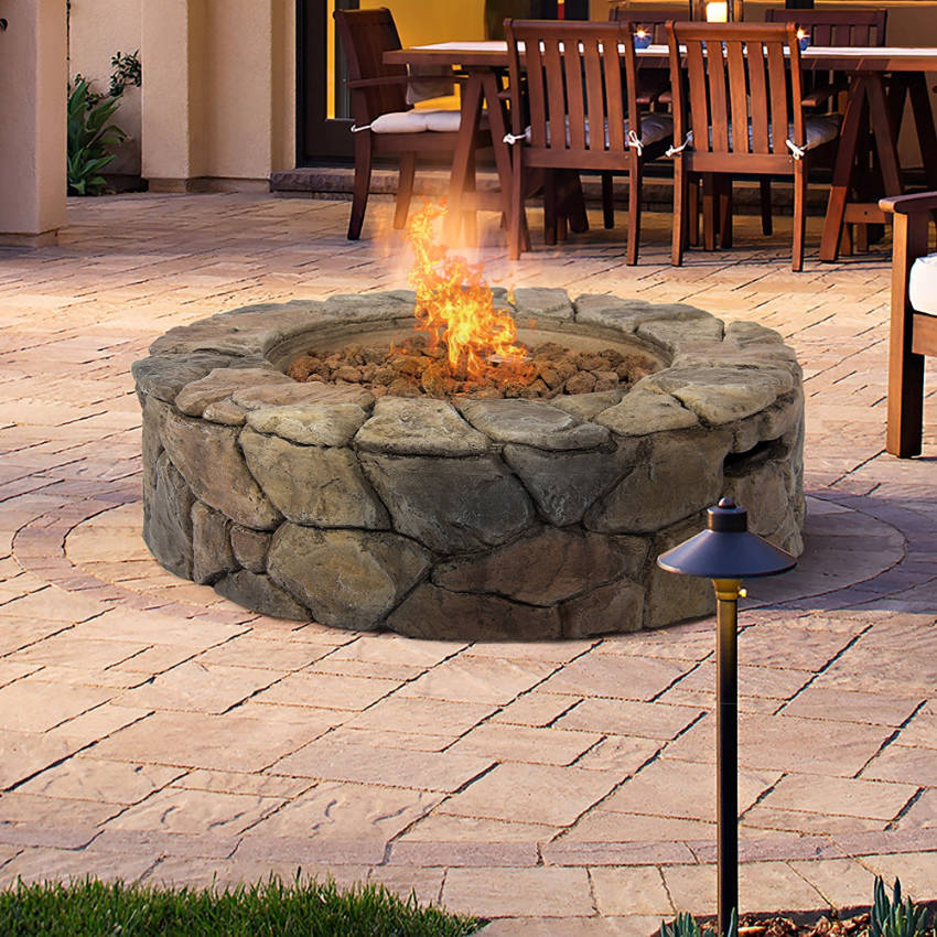The stone fire pit is the beautiful rustic addition your pergola needs!