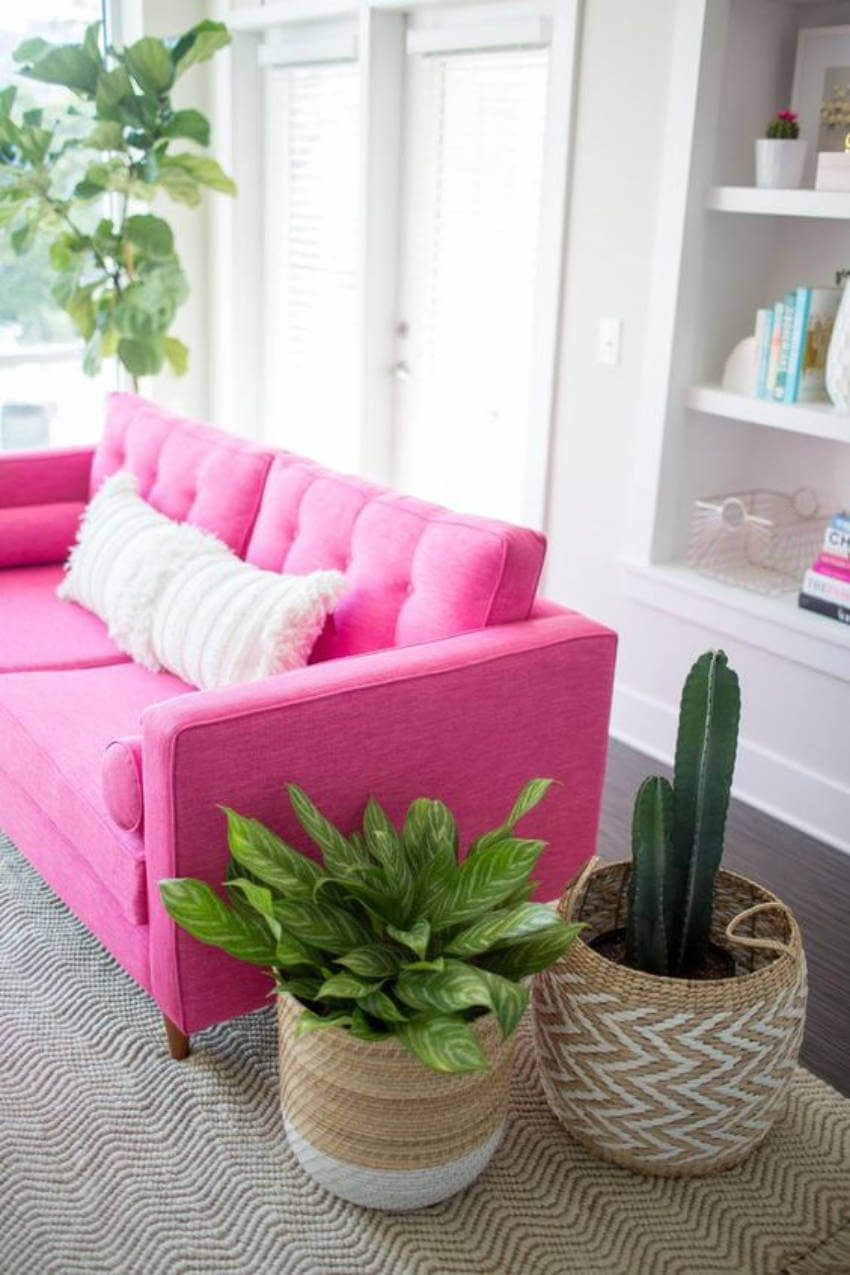 A pink couch is bold and beautiful!