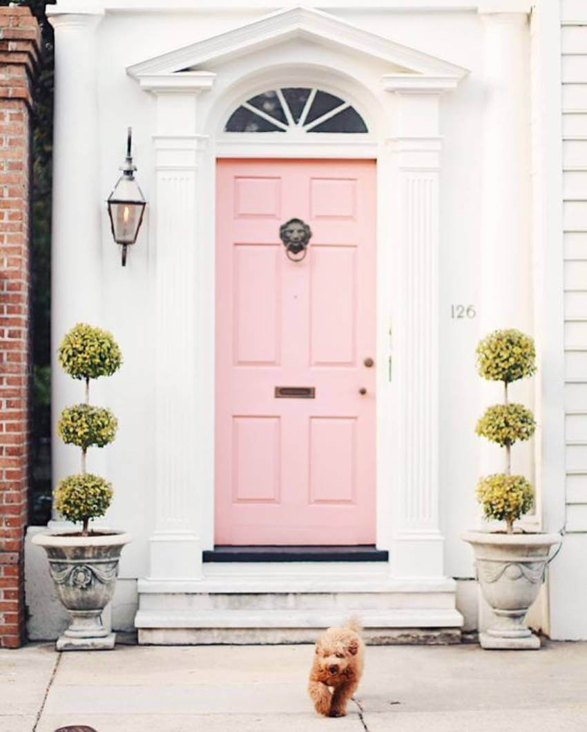 Give your home an awesome curb appeal with a pink door!