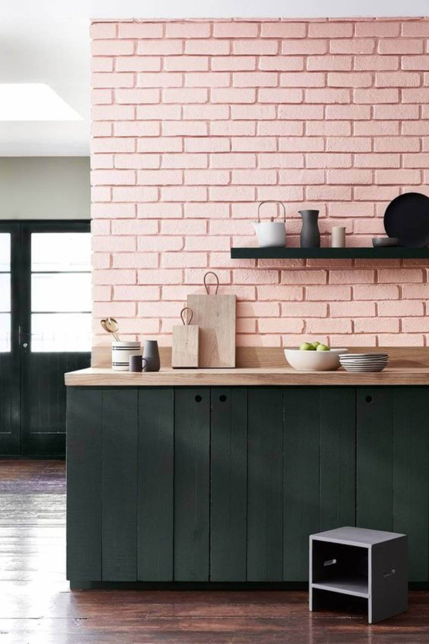This brick soft pink wall is wonderful for a kitchen!
