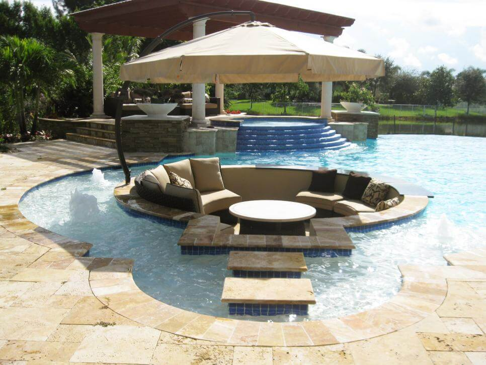 A sunken pool feature can certainly make a pool more interesting
