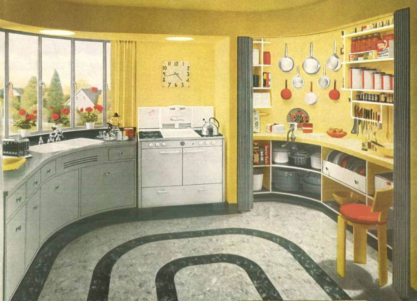 Though this kitchen is mainly yellow, the colors from the 1940s were red, white, and blue!