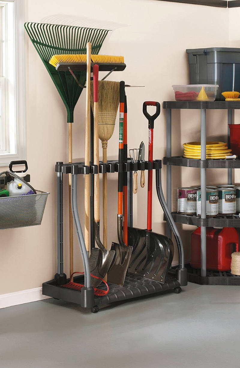 A garden tool tower keeps everything in the same place.
