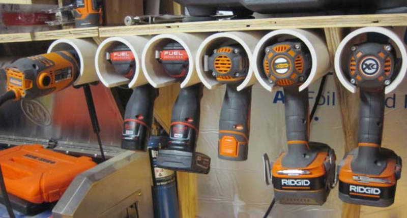 A simple DIY power tool storage solution.