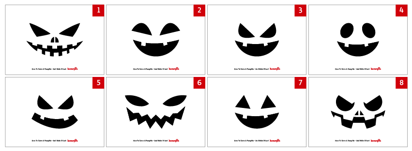 A collection of free pumpkin faces printable - adapted from Freepik's Design