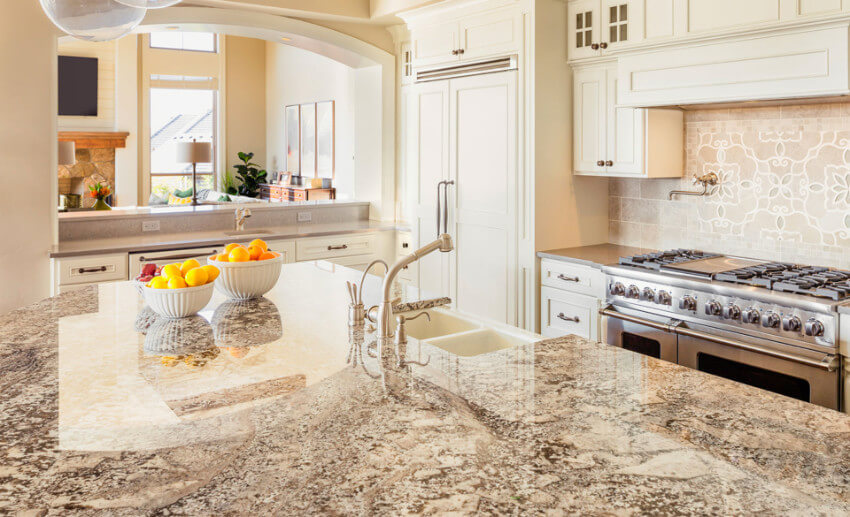 Made from natural stone and heat resistant, granite is great for the kitchen!