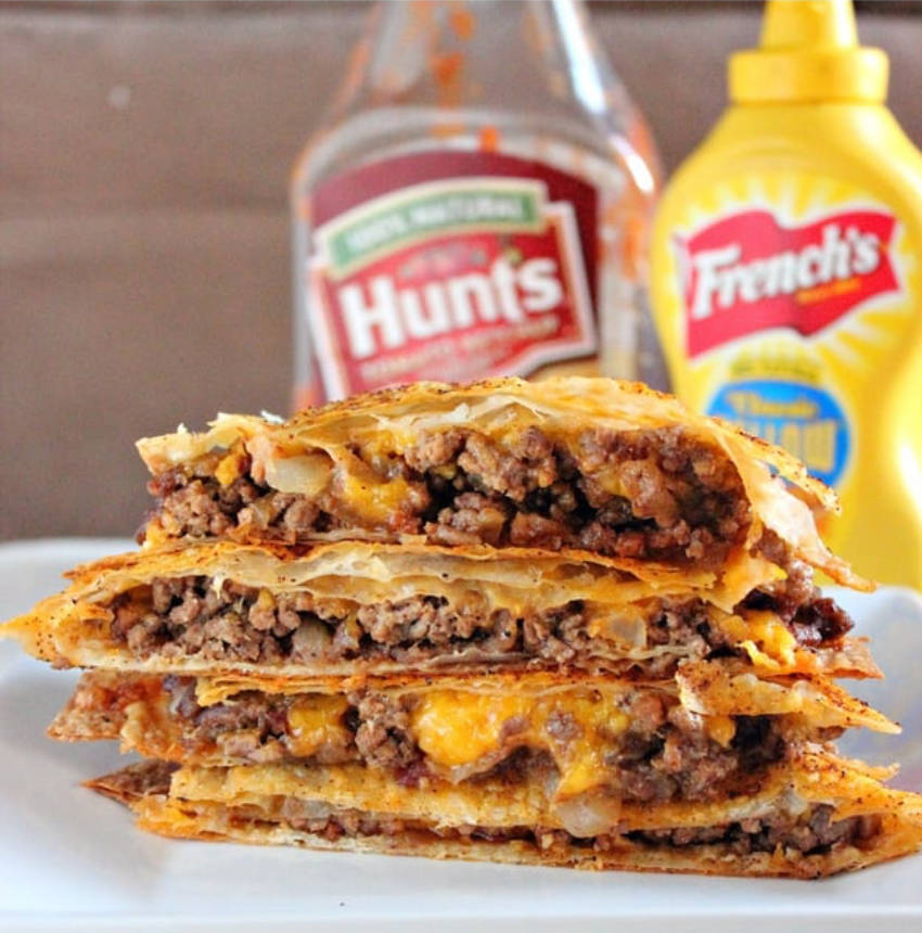 A cheeseburger quesadilla to please everyone!