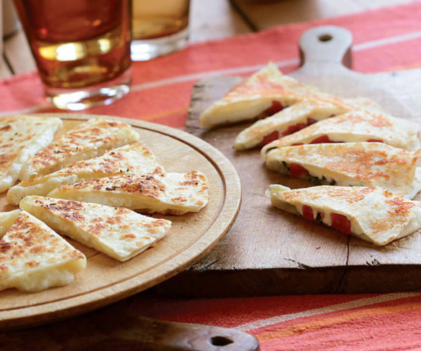 A three-cheese quesadilla for a lighter meal.