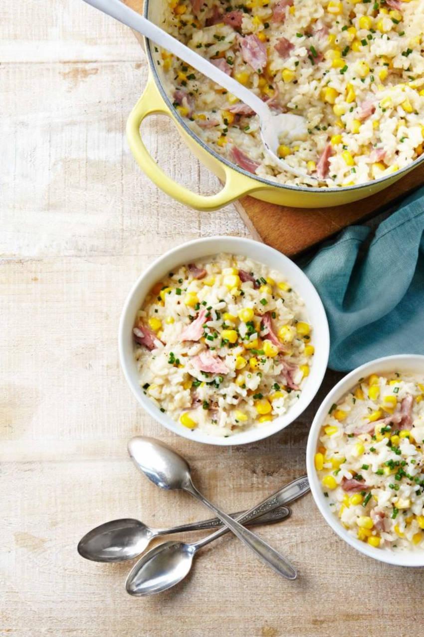 Corn and Ham risotto 30-minute recipe