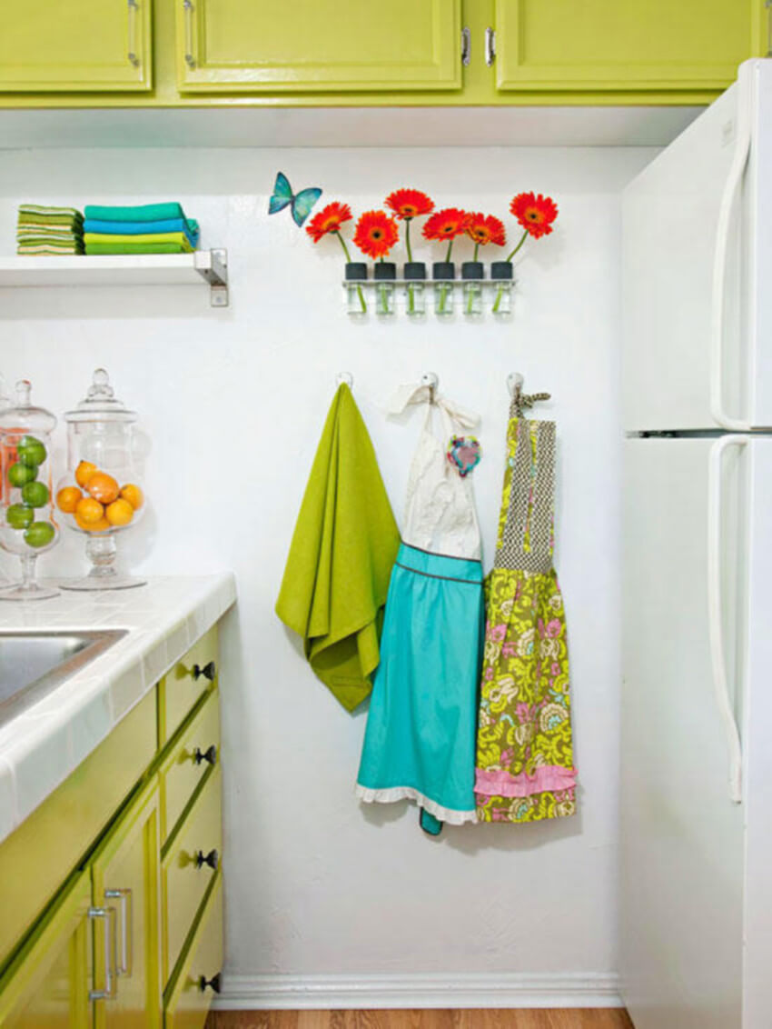 For a more friendly kitchen, show off colorful objects.