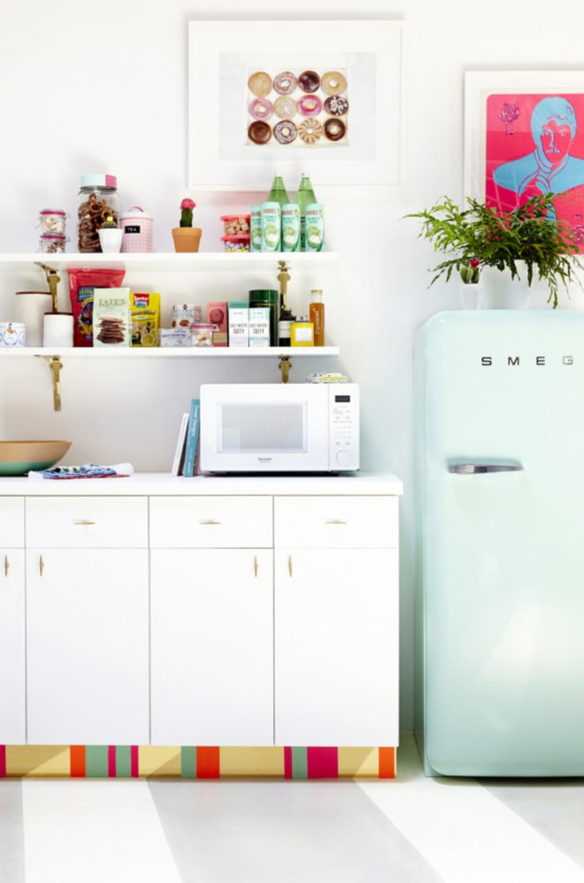 You can use different colors of contact paper to style your kitchen.