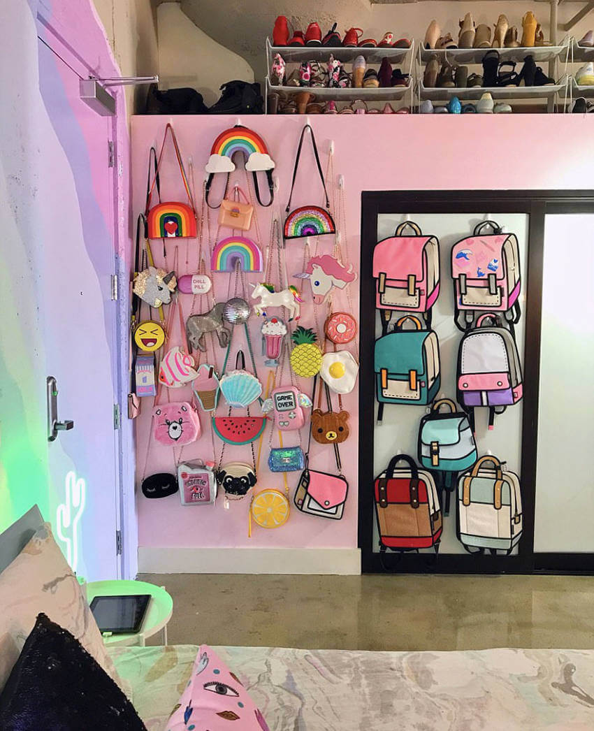 This accessories wall reminds me of childhood.