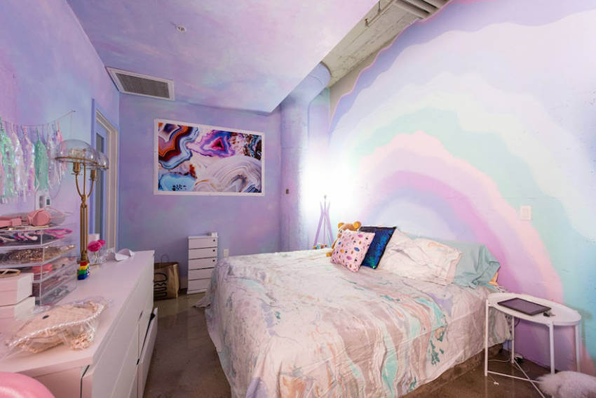 Pastel tones for the bedroom so you can still relax while being colorful.