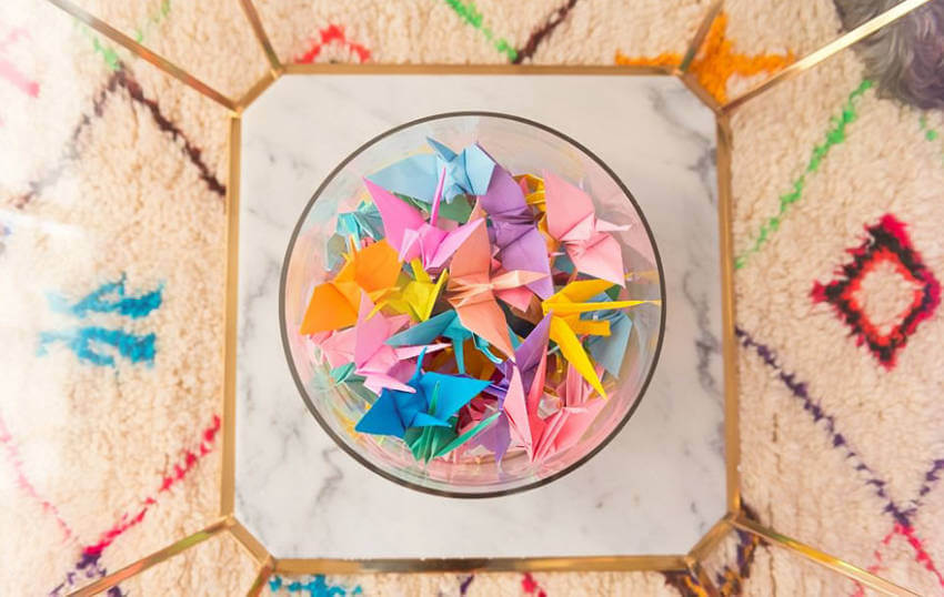 Origamis in a bowl to make the rainbow look complete.