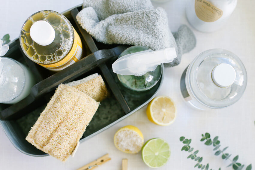 Make your own homemade cleaning products to avoid harsh chemicals.