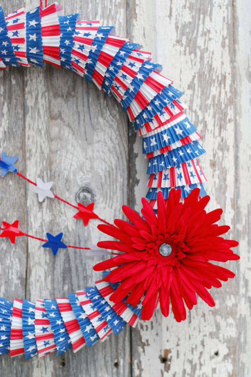 Cupcake liners can make an awesome wreath.