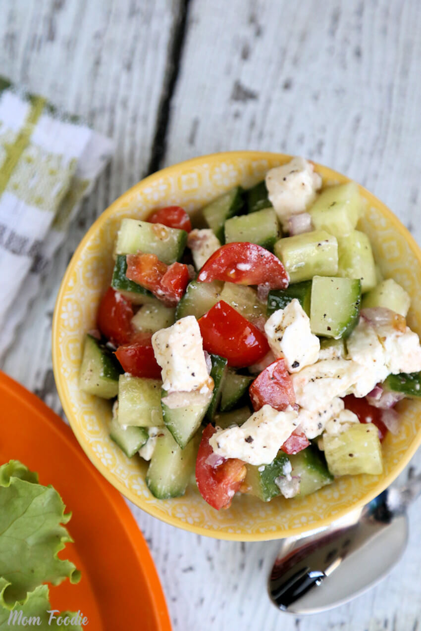 Cucumbers and feta cheese is the perfect salad combination!