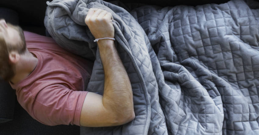 The gravity blanket can soothe anxiety and help you sleep.