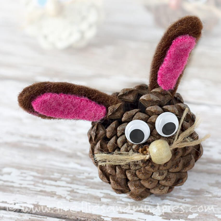A bunny pine cone will be adorable and kids will love it!