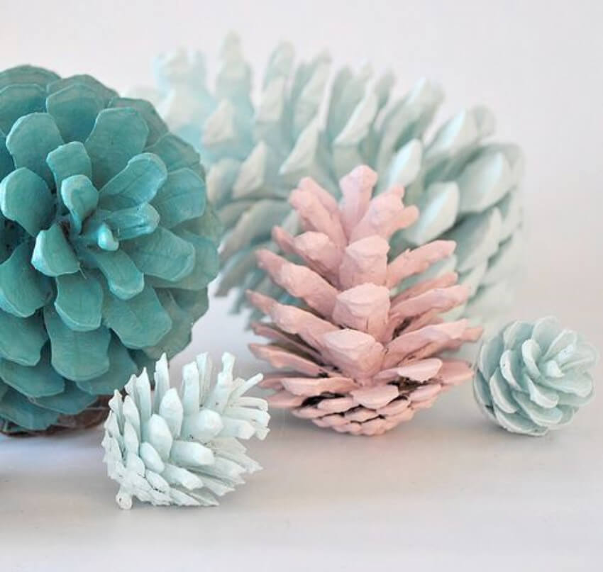 Make your home fancy for spring with painted pine cones!