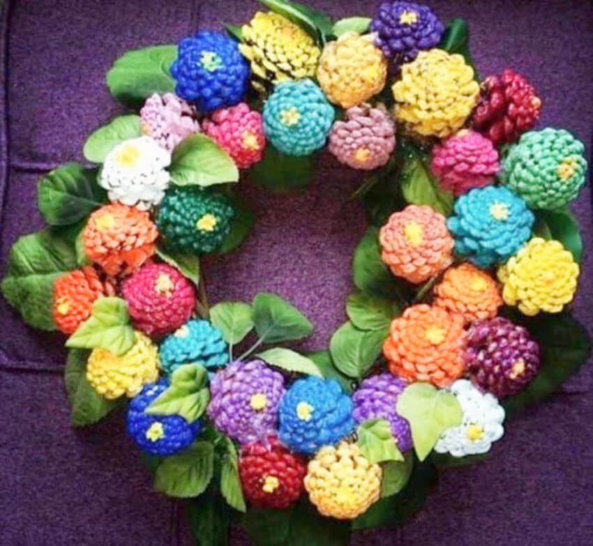 A spring wreath made from pine cones looks incredible!