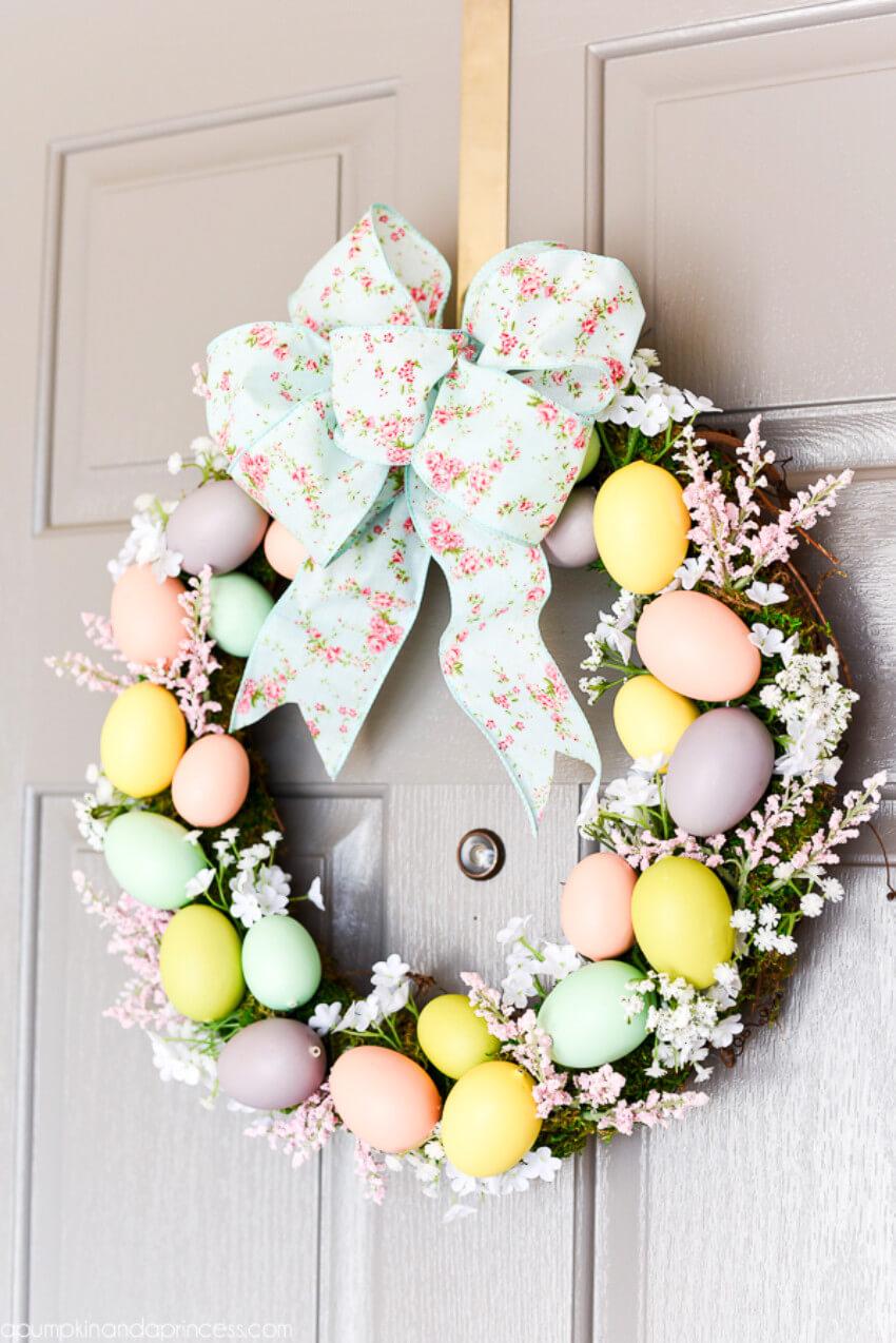 Fake Easter eggs can also make a pretty wreath!