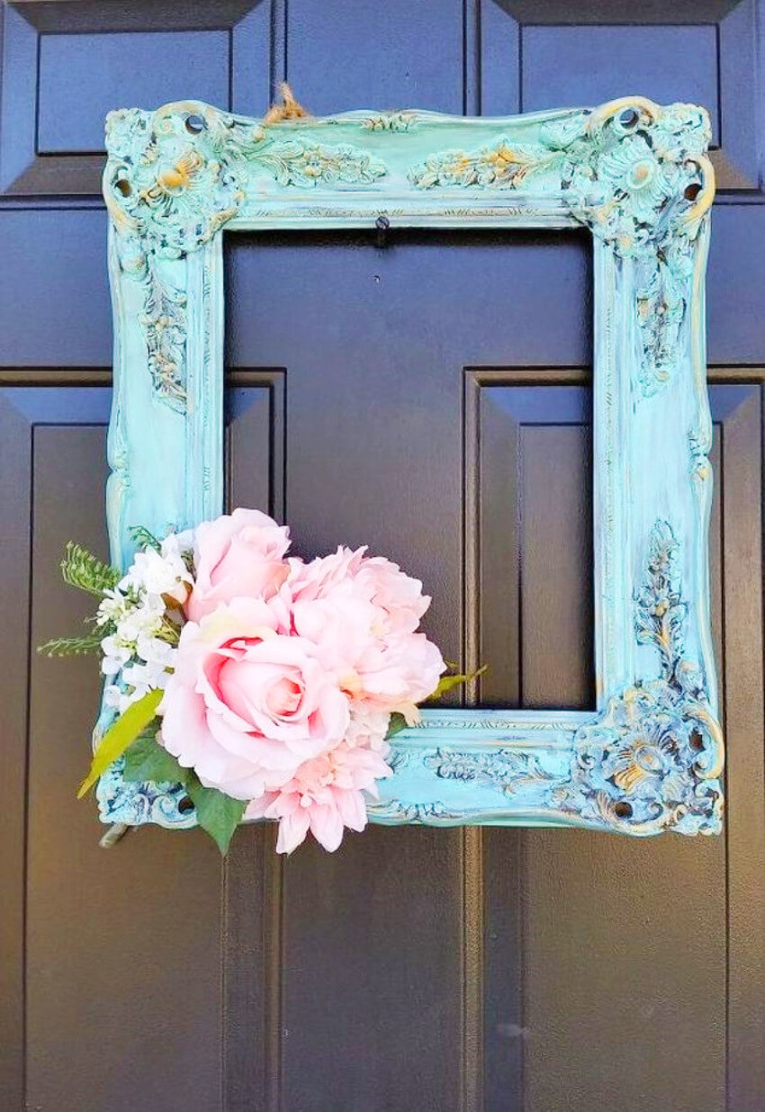 Use an old frame and a couple of flowers to put together this unique wreath!