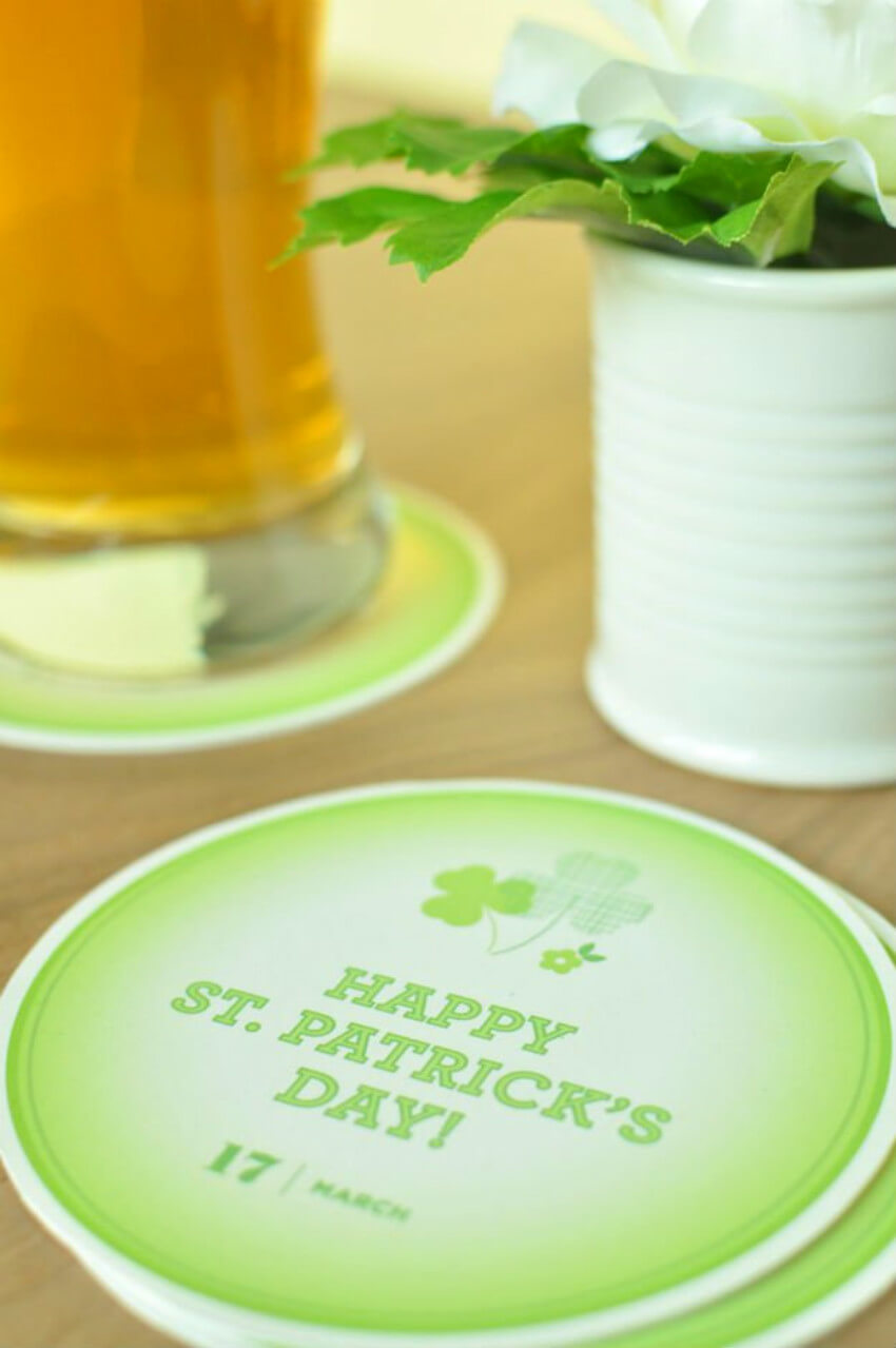 Make a St. Patrick's Day DIY coaster to decorate and prevent water rings!