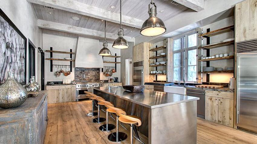 The marriage of wood, metal, and neutral tones punctuated with splashes of color creates the modern industrial motif.