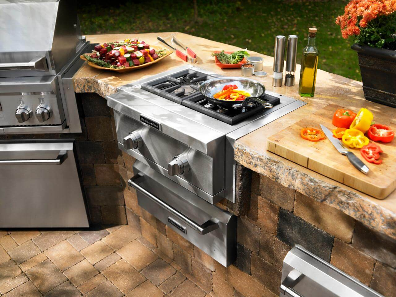 Cooking outside with a fully customized exterior kitchen