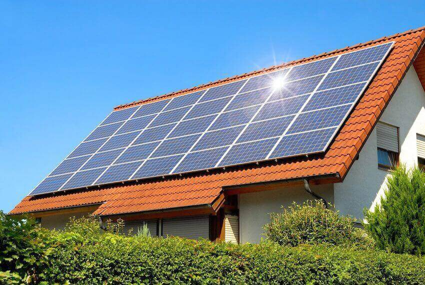 Solar panels make the home more energy efficient, especially on the roof