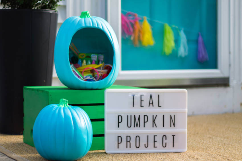 Leave an open teal pumpkin outside with all sorts of non-candy treats!