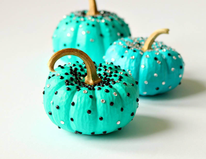 Add some turquoise sparkle onto your pumpkin for a beautiful decor piece!